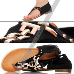 Czarne Sandały - Złoty Łańcuch