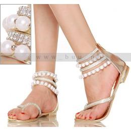 Intrygujące Złote Kobiece Sandały z Perłami