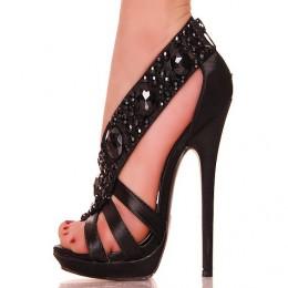 Wytworne Czarne Satynowe Sandały