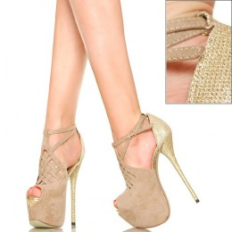 Jaśniutkie Beżowe Sandały - Złoty Obcas