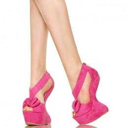 Różowa Kokardka Innowacyjne Koturny Sandały