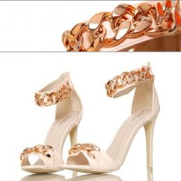 Beżowe Sandały - Złote Łańcuchy - Sexy