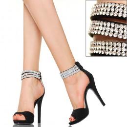 Czarne Sandały - Trzy Cyrkoniowe Paski