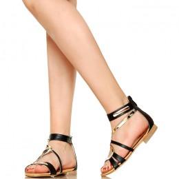 Złoty Wężyk - Zgrabne Czarne Sandały