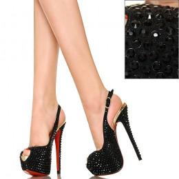 Czarne Sandały Wysadzane Cyrkoniami Exklusiv