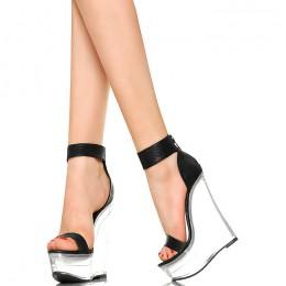 Przezroczyste Koturny - Czarne Sexy Sandały