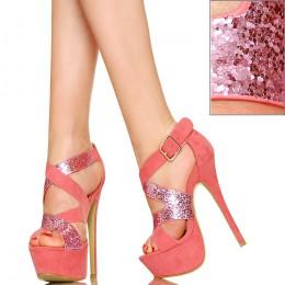 Różowe Sandały - Brokatowe Paski