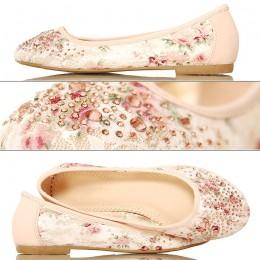 Koronkowe Kwiaty - Różowe Balerinki Cyrkonie