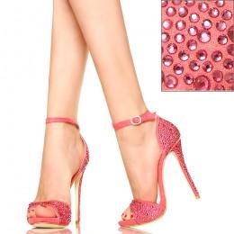 Różowe Cyrkoniowe Sandały - Delikatne