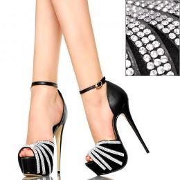 Czarne Sandały - Cyrkoniowe Promienie