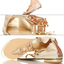 Złote Japonki - Sandały - Złoty Łańcuch
