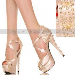 Satynowe Złote Sandały - Złote Ćwieki