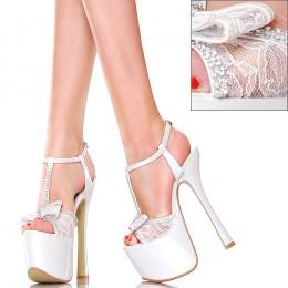 Sandały - GoGo - Perłowo Białe z Koronką