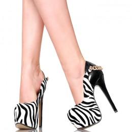 Czółenka - Seksowna Zebra na Łańcuchu