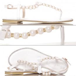 Sandały - Białe Japonki Perły i Cyrkonie