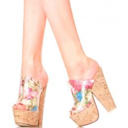 Klapki - Kobiece Różowe Kwiaty - Korek