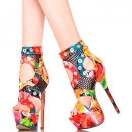 Sandały - Lakierowane Malowane Gladiatorki