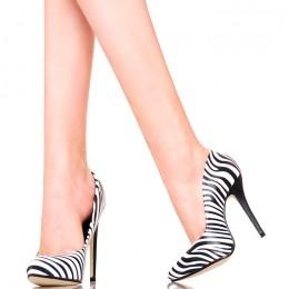 Czółenka - Seksowne Biało Czarne Zebry