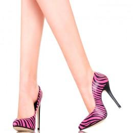 Czółenka - Seksowne Różowo Czarne Zebry