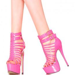 Sandały Rózowe Lakierowane Sexxxxy Gladiatorki