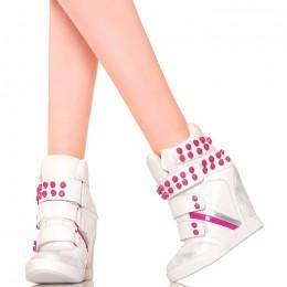 Sneakersy - Białe Na Rzepy z Różowymi Ćwiekami