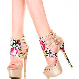 Sandały - Złote z Efektownymi Kwiatowymi Wstawkami