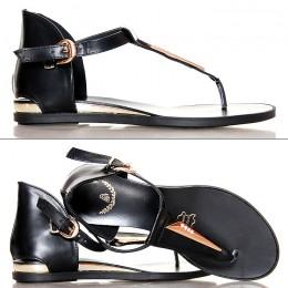 Sandały Czarne Kobiece Japonki Złote Dodatki