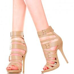 Sandały - Karmelowe Gladiatorki Złote Klamry