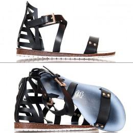 Sandały W Kolorze Czarnym - Kobiece Gladiatorki