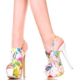 Sandały Białe Kwiatowe Szpilki z Paskiem na Kostce