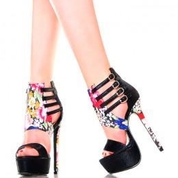 Sandały Czarne Kwiatowe Wstawki
