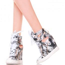 Sneakersy - Biało Szare z Gazetowymi Nadrukami
