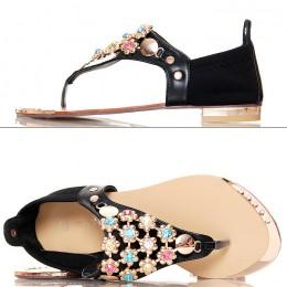 Sandały - Japonki - Czarne ze Złotymi Kwiatkami