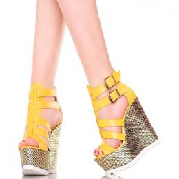 Sandały - Żółte Efektowne Na Złotych Koturnach