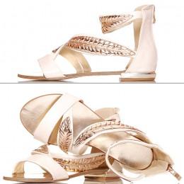 Sandały - Kobiece Płaskie ze Złotymi Listkami