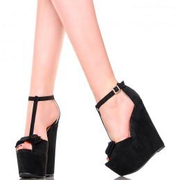 Sandały - Czarne Eleganckie Koturny z Kokardką