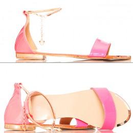 Sandały - Neonowe Różowe Złoty Pasek Na Kostce