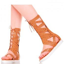 Sandały - Wiązane Rzymianki w Kolorze Camel