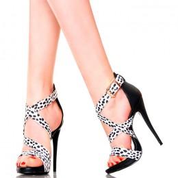 Sandały - Seksowne Czarno Białe w Kropeczki