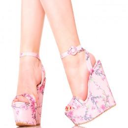 Sandały - Różowe Efektowne Kwiatowe Koturny
