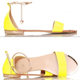 Sandały - Neonowe Żółte Złoty Pasek Na Kostce