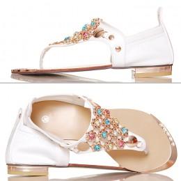 Sandały - Japonki - Białe ze Złotymi Kwiatkami