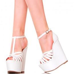 Sandały - Białe Kobiece Koturny - Cienkie Paseczki