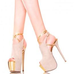 Sandały Beżowe Zabudowane Ze Złotymi Wstawkami
