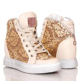 Sneakersy Waniliowo Złote Koturny