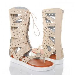 Sandały Beżowe Wiązane Rzymianki