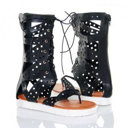 Sandały Czarne Wiązane Rzymianki