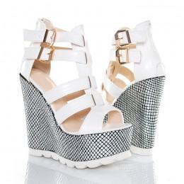 Sandały Białe Na Srebrnych Koturnach