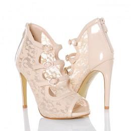 Sandały Beżowe Koronkowe Seksowne z Klamerkami