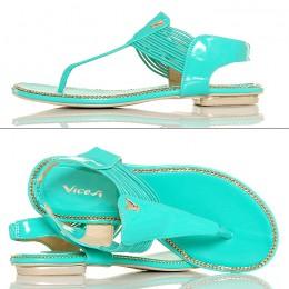 Sandały Japonki Miętowe Lakierowane